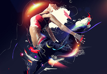 Awesome Dancer Photo Manipulation with Cool Drawing and Lighting Effect